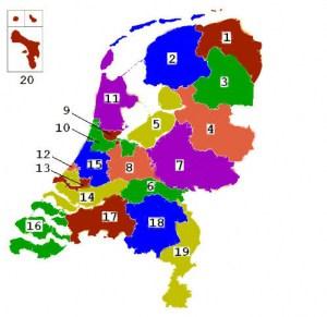 Kaart van Nederland met kieskringen | Groen Rechts